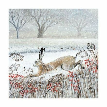 Pack of 8 Fine Art Xmas / Christmas Cards Leaping Hare